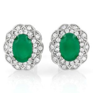 NEW Emerald White Gold/Sapphire 14k Stud Earrings